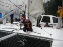 Alexander Kaufmann tightening the trampoline on ES at the start of her second sea trial. More pics to come.