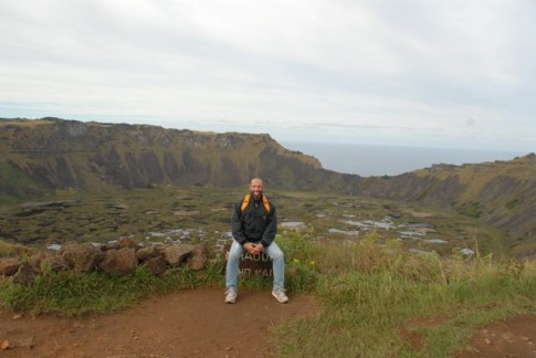 Me at the edge of one of the 3 volcano calderas on Easter Island.