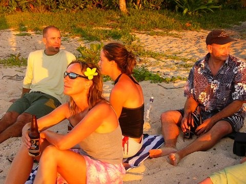 Gar, Janey, Lucy and Chris watching the sunset