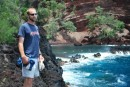 Really really cool red sand beach near Hana with awesome swimming hole that Julie and Rolando showed us