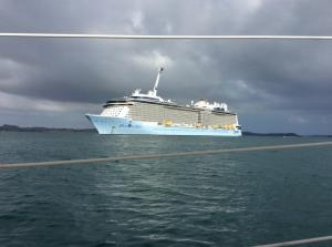 Cruise ship anchored.  .  Tourists flock to Paihia  and Russell.