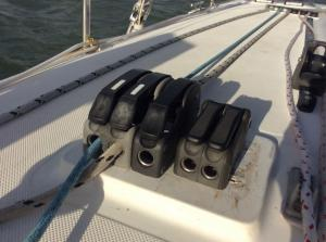 Eric added a new clutch for our screecher halyard.