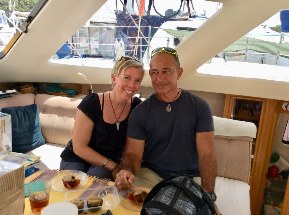 Lori and Ray:  Met  Lori in Pago Pago.  She was delivering SV Guppy to Hawaii and in Manihiki she ran aground on a reef.  The boat was a loss but she met and married Ray.  We were thrilled to meet Ray.