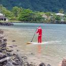 SANTA ARRIVNG IN PAGO PAGO, AMERICAN SAMOA: Our friend, Nate Clayville standing in for Santa Claus.