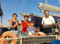 SV Aldivi, Alex, Bernadette, Diego, Alexandra and Vital from Mexico.: They told us that this is the first cruising boat from Mexico.