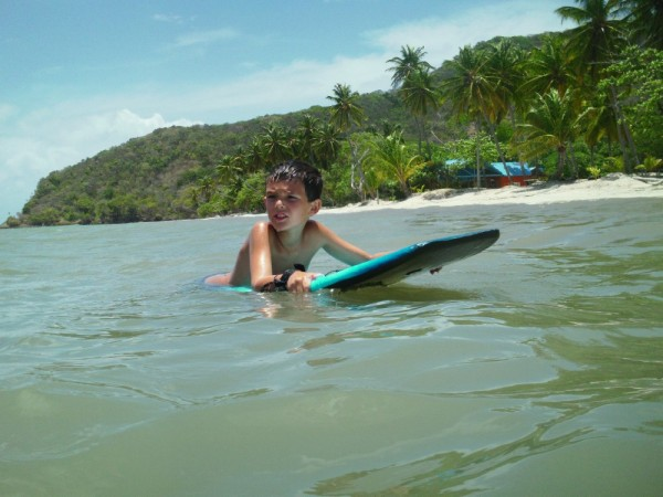 Auke and his body board on Isla Providencia