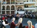Kalimnos.: Schoolkids in a Greek dancing competition in the town square.