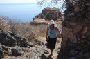 Exploring the ruins of the upper town at Monemvasia.