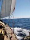 Under easy sail.