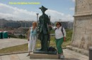 Judy and Tricia chatting up the guard at the bottom of the Tower de Hercules.
