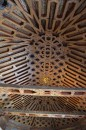 The wooden ceiling in one of the classrooms