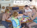 Kids decorating eggs for Easter