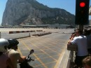 The main road entering Gibraltar.  It crosses the runway of the airport!