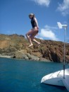 Clare jumps from the high dive