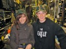 Hannah and RJ shopping in Army store