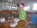 Christmas on the boat - Santa found us!