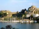 Moored at Mandraki harbor in Corfu - next to the castle.  The boat is far right