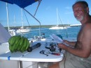 Steve putting the emergency watermaker together at anchorage at Isla Santa Cruz.