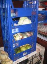 Baskets containing fresh produce.  Notice eggs in background to right.  Hope this stuff keeps for weeks!