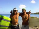 local LUC et Claude surfing Ahe. Tuamotus - French Polynesie