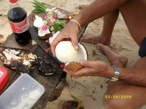 food from heaven - palm heart - grilled fish...(not the coke)