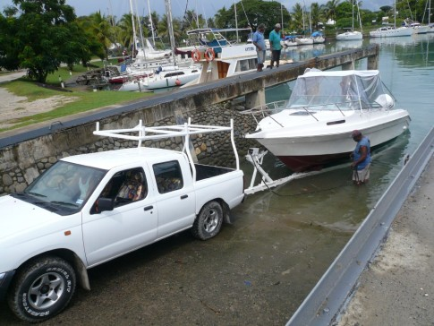 El Piso - the boat that we use to map/chart anchorages whilst writing the new Fiji cruising guide