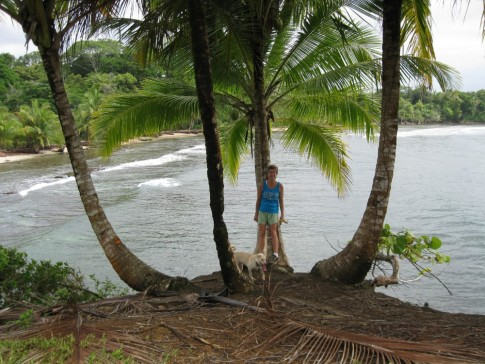 Patty at the surfer beach, Isla Colon, Panama