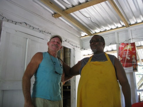 "Gary and Morris - we found Morris at a roadside BBQ place in Roatan. Morris did some carpentry work for Gary aboard the ""Miss Terry"", way back in the 1980"
