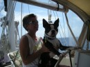 Patty and Bodee at the helm