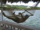Gary relaxing in the palapa, Barefoot Cay Marina & Resort