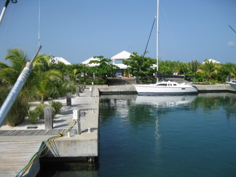 View from our stern, U-shaped docks, Barefoot Cay Marina