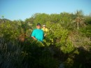 Lori & Don trail blazing through the jungle in Thomas Cay