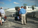 Chelsea getting off the Flamingo Air plane at Staniel Cay