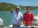 Gato and his son Larkin - heading over to Crab Cay