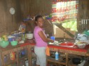 Elida preparing another fantastic meal in her Kitchen.
