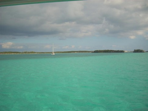 The view from our boat at Staniel Cay