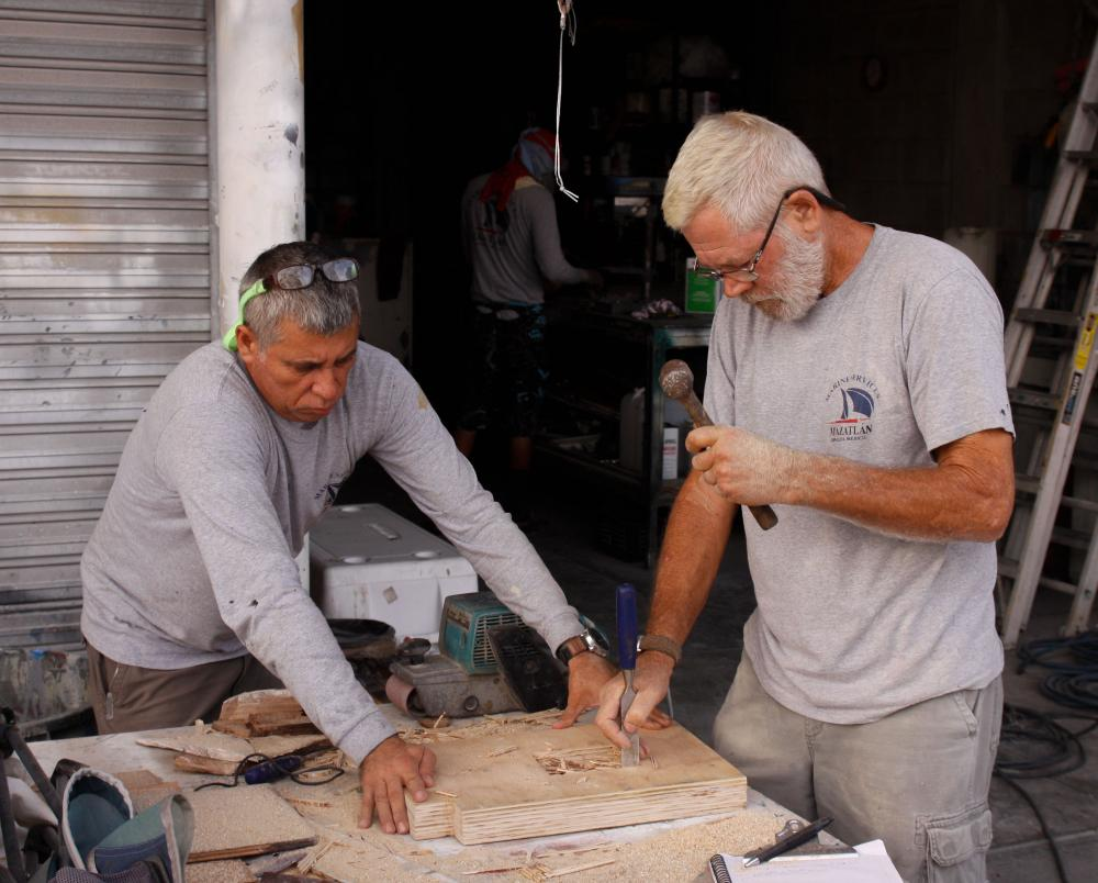 Sergio (left) and Rick (right) working on the new mizzen step.