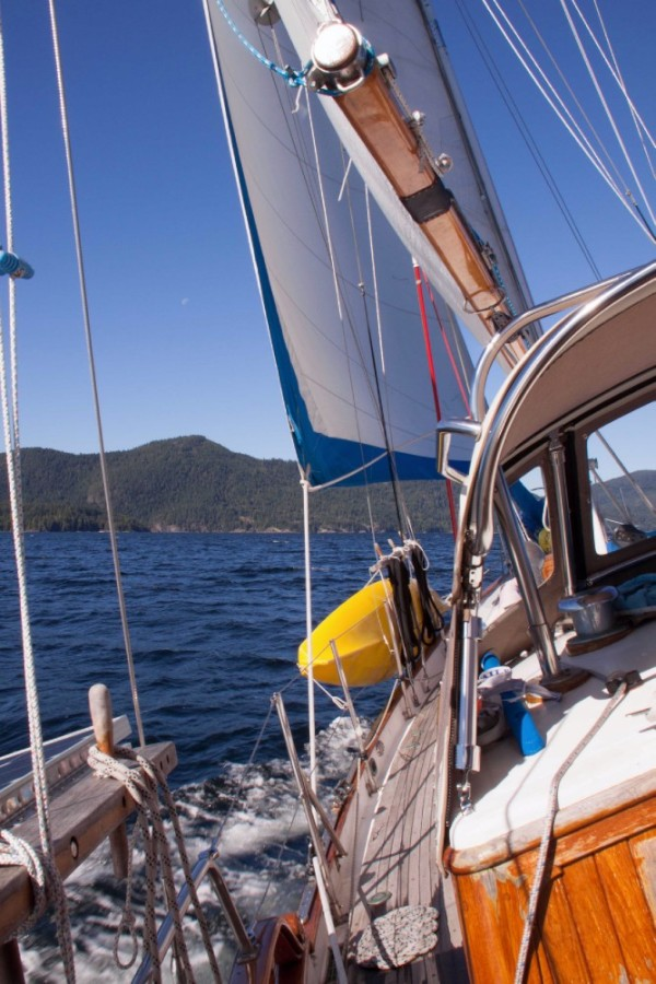 Sailing out of Von Donop Inlet