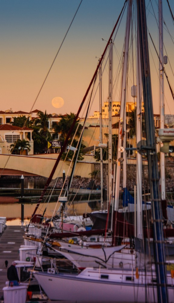Moonset over Marina Mazatlan