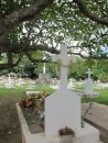 cemetery with fresh leis on graves
