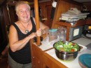 Sandi from Covenant brings a beautiful salad to our boat for dinner.  She
