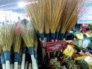 Homemade brooms at the market