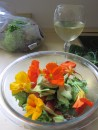 Salad made with nasturtiums picked by the river