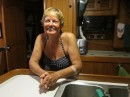 Karyn in the galley