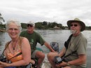 Jeannie, Jim and Jim enjoying the Rio Dulce