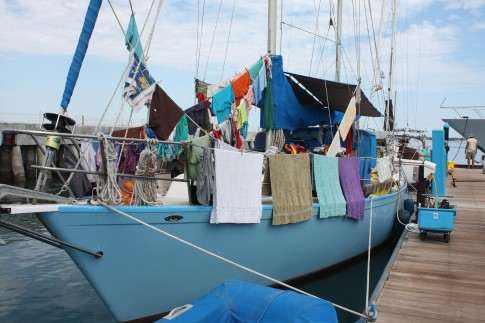 Laundry Day aboard THIRD DAY in Marina De La Paz