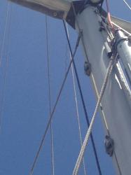02 lower aft starboard: Showing broken strand; where cable exists the swaged Norseman hammerhead fitting;