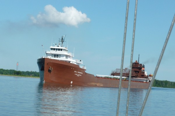 Traffic on the St. Mary River between the locks at Sault St. Marie and Lake Huron.