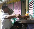 Fast food restaurant in St. Lucia, what would you like?  Barbequed chicken or chicken or would you like barbegued chicken?
