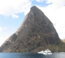 Petit Piton height 2460 feet from the right hand side of our dinning room.  It